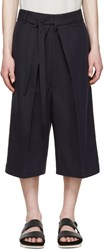 Alexander Mcqueen Navy Pleated Shorts