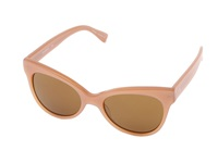 Kamalikulture By Norma Kamali Square Cat Eye Sunglasses Tan Rown Plastic Frame Fashion Sunglasses Orange