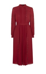 Karen Millen Studded Shirt Dress Red