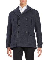 Hardy Amies Wool Blend Notched Collar Peacoat Navy