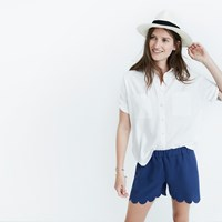 Madewell Scallop Hem Pull On Shorts