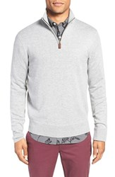 Bonobos Men's Cotton And Cashmere Quarter Zip Sweater Heather Silver