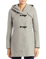 Jessica Simpson Wool Blend Tweed Toggle Coat Light Grey