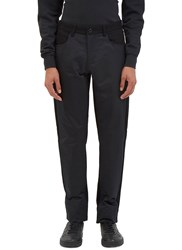 Yang Li Contrast Fabric Straight Leg Pants Black