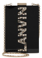 Lanvin Black Crystal Embellished Perspex Box Clutch Black And Silver