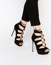 Lipsy Isobelle Black Lace Up Heeled Sandals