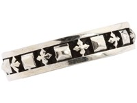 King Baby Studio Stackable Studded Ring With Mb Crosses Sterling Silver Ring