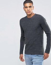 Selected Homme Ribbed Crew Neck Jumper Medium Grey