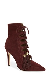 Cynthia Vincent 'Harp' Lace Up Bootie Women Burgundy Suede