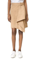 3.1 Phillip Lim Trench Skirt With Cascading Drape Khaki