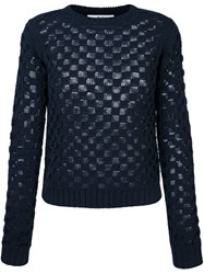 Julien David Square Knit Jumper Blue