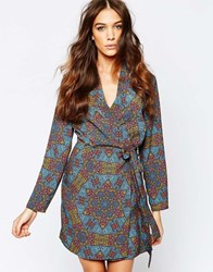 Neon Rose Tile Print Wrap Dress Multi