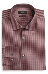 Boss Men's Big And Tall Slim Fit Houndstooth Dress Shirt Red