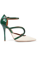 Malone Souliers Veronica Elaphe And Leather Pumps Green