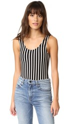 Laveer Striped Scoop Tank Bodysuit Black White