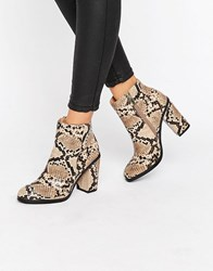 New Look Faux Snake Skin Block Heeled Boot Stone