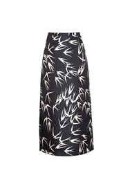 Rochas Swallow Print Midi Skirt