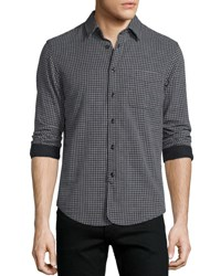 Rag And Bone Mini Plaid Long Sleeve Sport Shirt Black Black Pattern