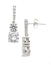Lord And Taylor Sterling Silver Cubic Zirconia Double Drop Earrings