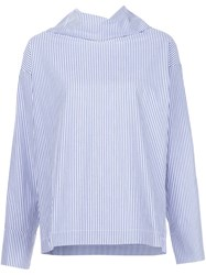 Rosie Assoulin Turtleneck Striped Blouse Blue