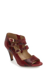 Isola Women's 'Dara' Strappy Peep Toe Pump Ruby Red Print Suede