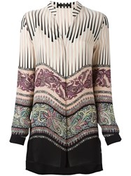 Etro Mixed Print Blouse Nude And Neutrals