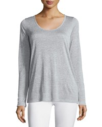 Vince Long Sleeve Scoop Neck Tee Heather Gray