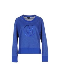 Armani Jeans Topwear Sweatshirts Women Bright Blue