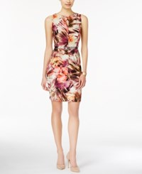 Connected Floral Print Keyhole Belted Sheath Dress Tropical Coral Ivory