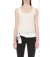Allsaints Neely Knot Silk Top Chalk White