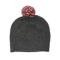 Lowie Grey Virgin Wool Pom Beanie Bobble Hat