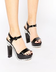 Ravel Platform Heeled Sandals Black