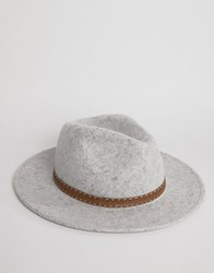 Asos Fedora In Grey Marl With Embrodiery Band Grey
