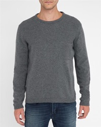 M.Studio Mottled Charcoal Corentin Fancy Knit Chest Pocket Sweater