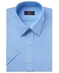 Club Room Men's Easy Care Rich Blue Solid Short Sleeve Dress Shirt Only At Macy's