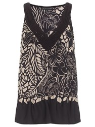 Adrianna Papell Floral Tank Top Black