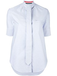 Thom Browne Shortsleeved Tie Shirt Blue