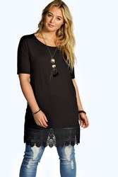 Boohoo Crochet Detail Tee Black
