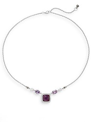 Judith Jack Amethyst White Stone And Sterling Silver Necklace Purple