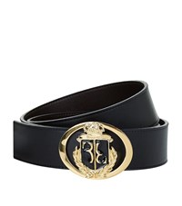 Billionaire Crest Buckle Leather Belt Unisex Black