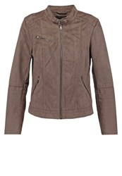 Only Onlfaith Faux Suede Faux Leather Jacket Falcon Brown