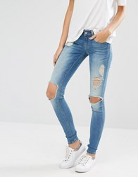 Only Coral Skinny Jeans With Big Holes Blue