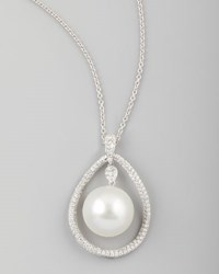 White South Sea Pearl And Diamond Teardrop Necklace 1.42Ct