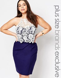 Paper Dolls Plus Pencil Dress With Crochet Bodice Navy