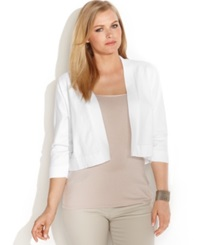 Calvin Klein Plus Size Lace Back Cropped Cardigan White