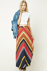 Forever 21 Chevron Stripe Maxi Skirt Rust Brown