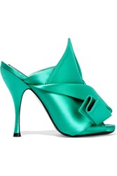 N 21 No. 21 Knotted Satin Mules Emerald