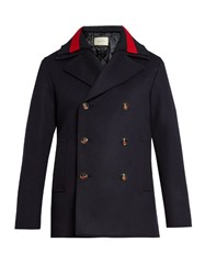 Gucci Detachable Web Collar Wool Pea Coat Navy