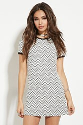 Forever 21 Textured Zigzag Pattern Dress White Black