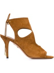 Aquazzura 'Sexy Thing 105' Cut Out Sandals Brown